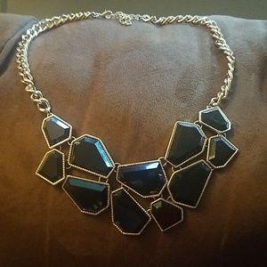 .Black statement necklace goldtone